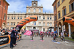 The start of Stage 5 of the 2021 Giro d'Italia, running 177km from Modena to Cattolica, Italy. 12th May 2021.  <br /> Picture: LaPresse/Gian Mattia D'Alberto | Cyclefile<br /> <br /> All photos usage must carry mandatory copyright credit (© Cyclefile | LaPresse/Gian Mattia D'Alberto)