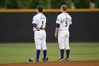 Greg Paiml #3 and Dale Mollenhauer #5 of the Winston-Salem Dash during the National Anthem at Wake Forest Baseball Stadium May 8, 2009 in Winston-Salem, North Carolina. (Photo by Brian Westerholt / Four Seam Images)