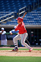 Philadelphia Phillies Rudy Rott (14) at bat during an Instructional League game against the Toronto Blue Jays on September 17, 2019 at Spectrum Field in Clearwater, Florida.  (Mike Janes/Four Seam Images)