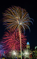 Fireworks explode over the Charlotte NC skyline as the city celebrated the July 4th holiday in 2018. Photographer has fireworks celebrations in Charlotte from multiple years. The collection of Charlotte NC fireworks photos show different perspectives and weather conditions.<br /> <br /> CharlottePhotographer - PatrickSchneiderPhoto.com