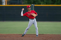 AZL Angels shortstop Jeremiah Jackson (8) during an Arizona League game against the AZL Giants Black at the San Francisco Giants Baseball Complex on July 1, 2018 in Scottsdale, Arizona. AZL Giants Black defeated the AZL Angels 4-2. (Zachary Lucy/Four Seam Images)