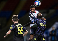 Bolton Wanderers' Brandon Comley competing with Newcastle United U21's Rosarie Longelo (right) <br /> <br /> Photographer Andrew Kearns/CameraSport<br /> <br /> EFL Papa John's Trophy - Northern Section - Group C - Bolton Wanderers v Newcastle United U21 - Tuesday 17th November 2020 - University of Bolton Stadium - Bolton<br />  <br /> World Copyright © 2020 CameraSport. All rights reserved. 43 Linden Ave. Countesthorpe. Leicester. England. LE8 5PG - Tel: +44 (0) 116 277 4147 - admin@camerasport.com - www.camerasport.com