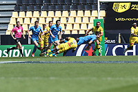2nd May 2021; Stade Marcel-Deflandre, La Rochelle, France. European Champions Cup Rugby La Rochelle versus  Leinster Semi-Final;  JAMES LOWE of Leinster is tackled down by Rhule of La Rochelle