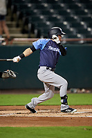 Trenton Thunder designated hitter Devyn Bolasky (9) follows through on a swing during the second game of a doubleheader against the Bowie Baysox on June 13, 2018 at Prince George's Stadium in Bowie, Maryland.  Bowie defeated Trenton 10-1.  (Mike Janes/Four Seam Images)