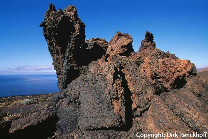 Spanien, Kanarische Inseln, El Hierro, El Lajial bei Restinga, Lava