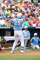 North Carolina Tar Heels first baseman Cody Stubbs #25 bats during Game 3 of the 2013 Men's College World Series between the North Carolina State Wolfpack and North Carolina Tar Heels at TD Ameritrade Park on June 16, 2013 in Omaha, Nebraska. The Wolfpack defeated the Tar Heels 8-1. (Brace Hemmelgarn/Four Seam Images)