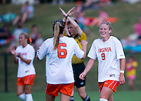 Makenzy Doniak (9) of Virginia celibates her goal with teammate Morgan Brian (9) at Klockner Stadium in Charlottesville, VA.  Virginia defeated Clemson, 3-0.