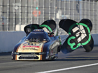 Feb 7, 2020; Pomona, CA, USA; NHRA funny car driver Jim Campbell during qualifying for the Winternationals at Auto Club Raceway at Pomona. Mandatory Credit: Mark J. Rebilas-USA TODAY Sports