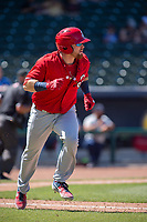 Springfield Cardinals catcher Brian O'Keefe (23) runs for first on May 19, 2019, at Arvest Ballpark in Springdale, Arkansas. (Jason Ivester/Four Seam Images)