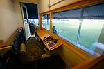 The press box in the Jamie Vardy Stand at Look Local Stadium. Stocksbridge Park Steels v Pickering Town,  Evo-Stik East Division, 17th November 2018. Stocksbridge Park Steels were born from the works team of the local British Steel plant that dominates the town north of Sheffield.<br /> Having missed out on promotion via the play offs in the previous season, Stocksbridge were hovering above the relegation zone in Northern Premier League Division One East, as they lost 0-2 to Pickering Town. Stocksbridge finished the season in 13th place.