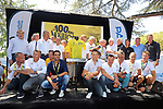 Celebrating 100 years of the Yellow Jersey with Eddy Merckx, Bernard Hinault, Bernard Thevenet, Joop Zoetemelk, Alberto Contador, Greg LeMond, Luc Leblanc Laurent Desbiens, Pascal Lino, Sylvain Chavanel, Thomas Voeckler, Jean-Rene Bernaudeau, Cyril Dessel, Andy Schleck, Jean-Francois Bernard, Charly Mottet, Andre Darrigade, Sean Kelly and Raymond Poulidor before Stage 13 of the 2019 Tour de France an individual time trial running 27.2km from Pau to Pau, France. 19th July 2019.<br /> Picture: ASO/Olivier Chabe | Cyclefile<br /> All photos usage must carry mandatory copyright credit (© Cyclefile | ASO/Olivier Chabe)