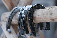 RUMAENIEN, 02.2006, Cirta bei/close to Miercurea-Ciuc. Pferdehaltung auf dem Dorf: Hufeisen. Pferde werden bis heute als Nutz- und Zugtiere eingesetzt.   Village horsekeeping Horse shoes. Horses are until today used as productive livestock for work and cart-pulling..© Andreea Tanase/EST&OST.
