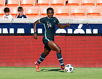 HOUSTON, TX - JUNE 13: Chidinma Okeke #14 of Nigeria dribbles the ball during a game between Nigeria and Portugal at BBVA Stadium on June 13, 2021 in Houston, Texas.