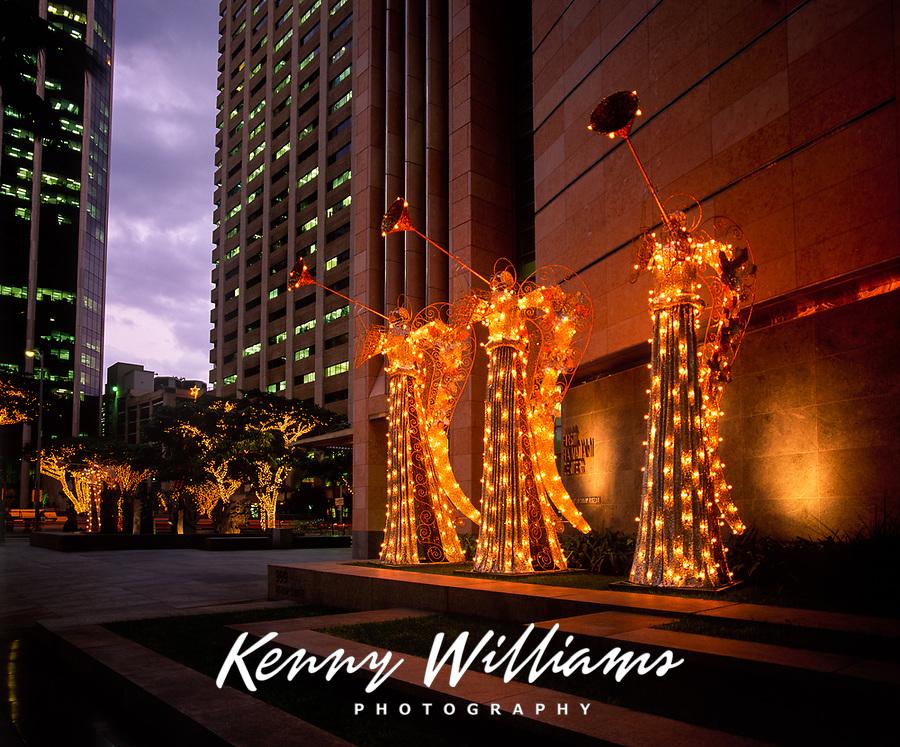 Christmas Angels, Downtown Honolulu, Oahu, Hawaii, USA.