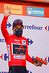 Race leader Richard Carapaz (ECU) Ineos Grenadiers retains the Red Jersey at the end of Stage 9 of the Vuelta Espana 2020, running 157.7km from B.M. Cid Campeador. Castrillo del Val to Aguilar de Campo, Spain. 29th October 2020.    <br /> Picture: Luis Angel Gomez/PhotoSportGomez | Cyclefile<br /> <br /> All photos usage must carry mandatory copyright credit (© Cyclefile | Luis Angel Gomez/PhotoSportGomez)
