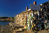 lobster shack, ME, Ballhead, Maine, Russell's Lobster Shack covered with lobster buoys along the Atlantic Ocean