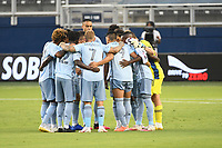 KANSAS CITY, UNITED STATES - AUGUST 25: Sporting KC players in a pre game huddle  a game between Houston Dynamo and Sporting Kansas City at Children's Mercy Park on August 25, 2020 in Kansas City, Kansas.