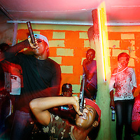 Kuduru or Kuduro musicians sing in the Luanda night club Esplanada 10..