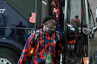 KANSAS CITY, KS - JULY 15: George Bello #21 of the United States arriving at the stadium before a game between Martinique and USMNT at Children's Mercy Park on July 15, 2021 in Kansas City, Kansas.
