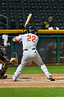 Tyler Heineman (22) of the Fresno Grizzlies at bat against the Salt Lake Bees in Pacific Coast League action at Smith's Ballpark on April 13, 2016 in Salt Lake City, Utah. The Grizzlies defeated the Bees 6-0. (Stephen Smith/Four Seam Images)