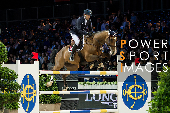 Piergiorgio Bucci on Hertbreaker v. Achterhoe competes during competition Table A Against the Clock at the Longines Masters of Hong Kong on 19 February 2016 at the Asia World Expo in Hong Kong, China. Photo by Li Man Yuen / Power Sport Images
