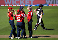 England keeper Amy Jones celebrates stumping NZ's Katey Martin off Sarah Glenn's bowling during the 2nd international women's T20 cricket match between the New Zealand White Ferns and England at Sky Stadium in Wellington, New Zealand on Friday, 5 March 2021. Photo: Dave Lintott / lintottphoto.co.nz