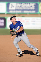 Will Smith (25) of the Rancho Cucamonga Quakes chases a pop up during a game against the High Desert Mavericks at Heritage Field on August 7, 2016 in Adelanto, California. Rancho Cucamonga defeated High Desert, 10-9. (Larry Goren/Four Seam Images)