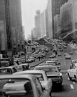 1967 FILE PHOTO - ARCHIVES -<br /> <br /> Hell on wheels: Montreal is hoping to relieve rush-hour congestion with an integrated transit plan including trains; buses and the subway. Motorists are up in arms because they will be saddled with 10 per cent of the tab through higher costs on downtown parking; autoroute tolls; gas and car registration.<br /> <br /> 1967<br /> <br /> PHOTO : Boris Spremo - Toronto Star Archives - AQP