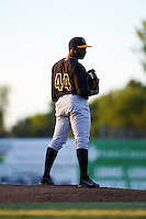 West Virginia Black Bears relief pitcher Cristian Mota (44) during a game against the Batavia Muckdogs on June 30, 2016 at Dwyer Stadium in Batavia, New York.  Batavia defeated West Virginia 4-3.  (Mike Janes/Four Seam Images)