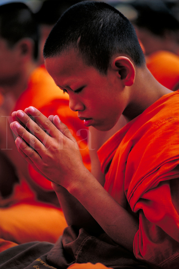 Young monk in prayer in Chiang Mai, Thailand. Chiang Mai, Thailand.