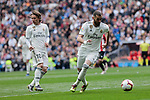 Real Madrid's Luka Modric (L) and Karim Benzema (R) during La Liga match between Real Madrid and Athletic Club de Bilbao at Santiago Bernabeu Stadium in Madrid, Spain. April 21, 2019. (ALTERPHOTOS/A. Perez Meca)