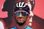 Alejandro Valverde (ESP) Movistar Team at sign on before the start of Stage 6 of the 2021 UAE Tour running 165km from Deira Island to Palm Jumeirah, Dubai, UAE. 26th February 2021.  <br /> Picture: Eoin Clarke   Cyclefile<br /> <br /> All photos usage must carry mandatory copyright credit (© Cyclefile   Eoin Clarke)
