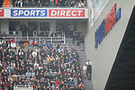 Newcastle fans and Sports Direct branding in the Leazes stand. Newcastle v West Ham, August 15th 2021. The first game of the season, and the first time fans were allowed into St James Park since the Coronavirus pandemic. 50,673 people watched West Ham come from behind twice to secure a 2-4 win.