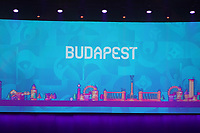 EM Spielort Budapest auf der Videowand - 30.11.2019: UEFA EURO2020 Auslosung, Romexpo Bukarest, DISCLAIMER: UEFA regulations prohibit any use of photographs as image sequences and/or quasi-video.