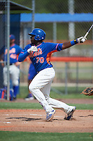 GCL Mets outfielder Kenneth Bautista (70) at bat during the first game of a doubleheader against the GCL Marlins on July 24, 2015 at the St. Lucie Sports Complex in St. Lucie, Florida.  GCL Marlins defeated the GCL Mets 5-4.  (Mike Janes/Four Seam Images)