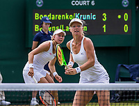 London, England, 6 th July, 2017, Tennis,  Wimbledon, Women's doubles: Kiki Bertens (NED) / Johanna Larsson (SWE) (L)<br /> Photo: Henk Koster/tennisimages.com