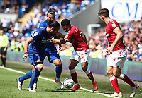 28th August 2021; Cardiff City Stadium, Cardiff, Wales;  EFL Championship football, Cardiff versus Bristol City; Jay Dasilva of Bristol City is challenged by Cardiff City defenders out wide