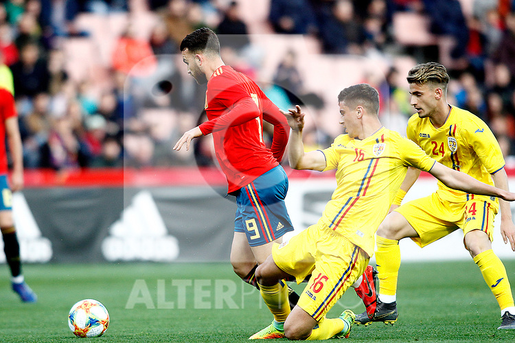 Spain's Borja Mayoral and Romania's Butean Mihai  during the International Friendly match on 21th March, 2019 in Granada, Spain. (ALTERPHOTOS/Alconada)