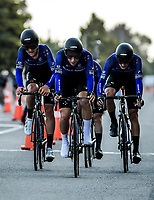Aaron Gate (centre) with the Black Spokes. Masterton circuit team time trials - Stage One of 2021 NZ Cycle Classic UCI Oceania Tour at Mitre 10 Mega in Masterton, New Zealand on Wednesday, 13 January 2021. Photo: Dave Lintott / lintottphoto.co.nz
