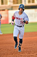 Northern Divisions second baseman Tate Blackman (20) of the Kannapolis Intimidators rounds the bases after hitting a home run during the South Atlantic League All Star Game at First National Bank Field on June 19, 2018 in Greensboro, North Carolina. The game Southern Division defeated the Northern Division 9-5. (Tony Farlow/Four Seam Images)
