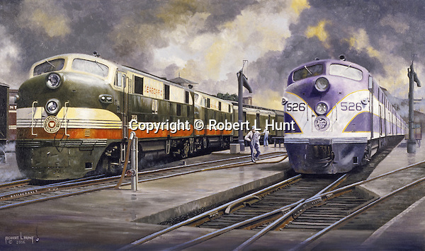 """Seaboard Railroad and Atlantic Coast Line F units being refueled side by side at a diesel locomotive maintenance yard. Oil on canvas 16"""" x 28""""."""