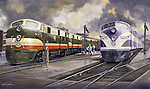 "Seaboard Railroad and Atlantic Coast Line F units being refueled side by side at a diesel locomotive maintenance yard. Oil on canvas 16"" x 28""."