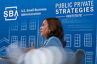 U.S. Vice President Kamala Harris and SBA Administrator Isabel Casillas Guzman virtually meet with small business owners to discuss the Bipartisan Infrastructure Deal and the Administration's efforts to help small businesses in the South Auditorium of the White House July 29, 2021 in Washington DC. <br /> Credit: Ken Cedeno / Pool via CNP / MediaPunch