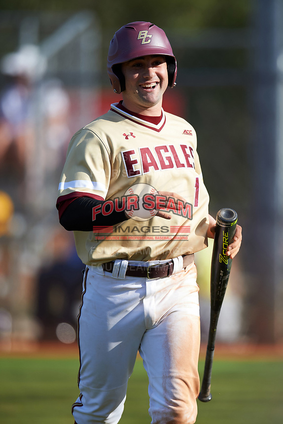 Boston College Eagles pinch runner Jake Alu (1) jogs to the dugout after scoring what would be the game winning run in the top of the ninth inning during a game against the Central Michigan Chippewas on March 3, 2017 at North Charlotte Regional Park in Port Charlotte, Florida.  Boston College defeated Central Michigan 5-4.  (Mike Janes/Four Seam Images)
