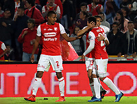 BOGOTA-COLOMBIA, 08-03-2020: Fabian Sambueza de Independiente Santa Fe, celebra el gol anotado con sus compañeros de equipo al Atletico Nacional, durante partido de la fecha 8 entre Independiente Santa Fe y Atletico Nacional, por la Liga BetPLay DIMAYOR I 2020, en el estadio Nemesio Camacho El Campin de la ciudad de Bogota. / Fabian Sambueza of Independiente Santa Fe, celebrates after scoring the goal of his team with his teammates to Atletico Nacional, during a match of the 8th date between Independiente Santa Fe and Atletico Nacional, for the BetPlay DIMAYOR I Leguaje 2020 at the Nemesio Camacho El Campin Stadium in Bogota city. / Photo: VizzorImage / Daniel Garzon / Cont.