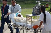 MEDELLÍN - COLOMBIA, 25-06-2015. Nelly Murillo Moreno y su hijo de 4 meses quines fueron los sobrevivientes del accidente de la avioneta tipo cesna HK-4677G en las selvas del Alto Baudo en el departamento del Chocó Colombia./ Nelly Murillo Moreno and her 4 month old son who were the survivors of the crash of the plane cesna type HK-4677G in the forests of Alto Baudo in Colombia Choco.  Photo: VizzorImage/ León Monsalve /Cont
