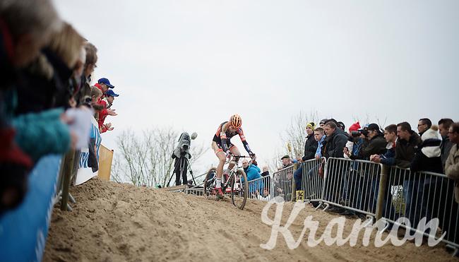 Wout Van Aert (BEL/Vastgoedservice-Golden Palace) leading the race<br /> <br /> Koksijde CX World Cup 2014