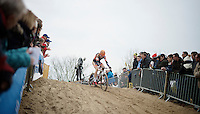 Wout Van Aert (BEL/Vastgoedservice-Golden Palace) leading the race<br /> <br /> Koksijde CX World Cup 2014
