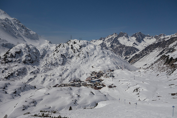 Town of St Christoph seen from ski trail 8, St Anton, Austria,