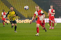 Daryl Horgan of Wycombe Wanderers (right) during the Sky Bet Championship behind closed doors match between Watford and Wycombe Wanderers at Vicarage Road, Watford, England on 3 March 2021. Photo by David Horn.